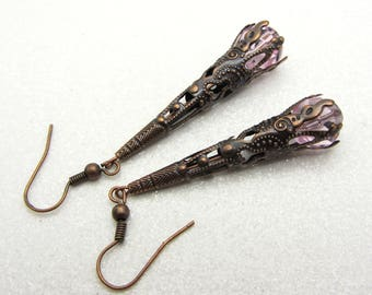 Victorian Style Cone Earrings Filigree Cone Earrings with Czech Pale Pink Beads SRAJD  Handmade