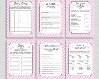Pink Baby Shower Games Package, Six Baby Shower Games Bundle, Pink & Gray Stripe Shower, Baby Girl, INSTANT PRINTABLE