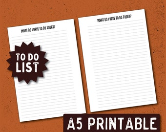 PRINTABLE A5 To Do List Planner Insert