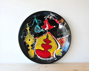Mid century modern wall plate, large ceramic plate, abstract plate, CAS41