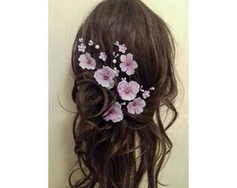 Lilac Cherry Blossom Flower Floral Hair Clips Accessories