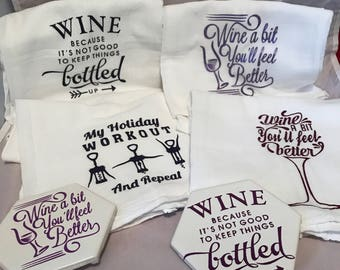 Any two includes 2 flour sack towels and 2 coasters!