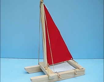 SAILBOAT, Red, Toy Sailboat, Wood Toy Boat, Pool Toy, Wooden Toy, Easter Gift Toy, Catamaran, Sailboat, Wood Sailboat, Boat, Wooden Boat