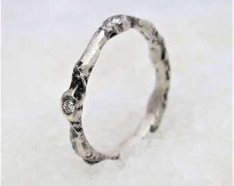 Silver minimal stackable ring  diamonds, minimal in oxidized silver