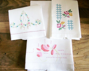 Vintage Tea Towels Hand Towels Embroidered Cotton Shabby Kitchen Linens Set of 3