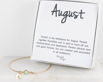 Personalized August Birthstone Gold Bangle Bracelet, Personalized Gold Bracelet, Peridot Bangle, Augut Birthstone Bracelet