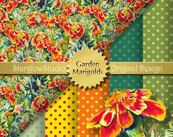 Marigold Flower Digital Paper from Watercolor Painting | Printable Envelope Liner Paper | Scrapbooking Paper | Orange Yellow Green