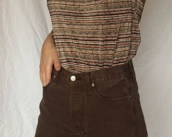 Vintage 1980s // Earth tone top sedimentary rock geological Nicola Blouse made in USA