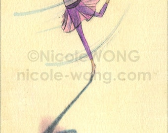 Original ACEO Drawing and Painting -- Twirling