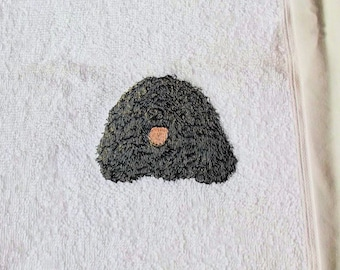 Puli Dog Face Cloth, Embroidered Towel, Dog Gift,