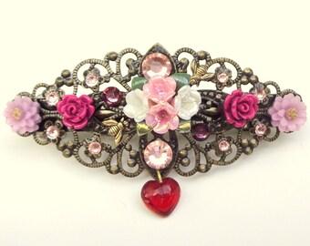 Flower Garden Crystal Barrette, Multi-Color, Rose,Vintage Style,Hair Accessories,Bride,Bridesmaid Filigree Barrette,Pink, Red Crystals