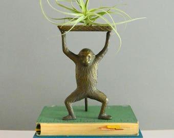 Brass Monkey - Vintage Figurine Tray Business Card Holder Soap Dish Mid Century
