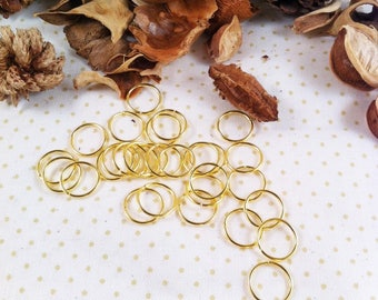 50 rings open, 12 x 1 mm, gold, round shaped, simple