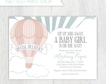Printable invitation - Hot air balloon invitation (style 2) - First birthday invitation - Child's party - Baby shower - Customizable
