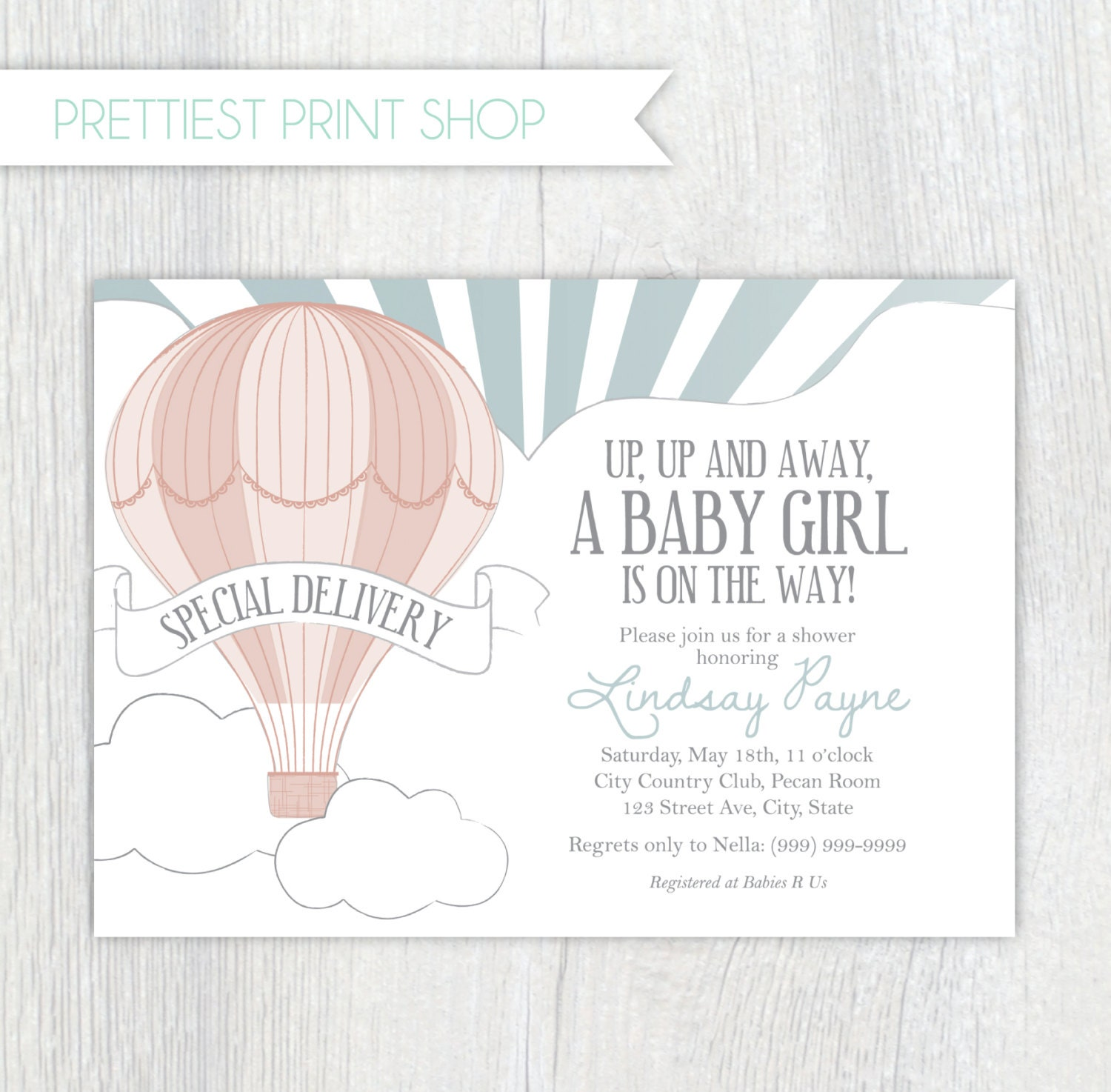 Printable Invitation Hot Air Balloon Style 2