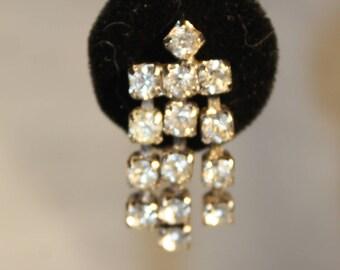 Stunning Vintage Rhinestone Screw On Dangle Earrings Fancy
