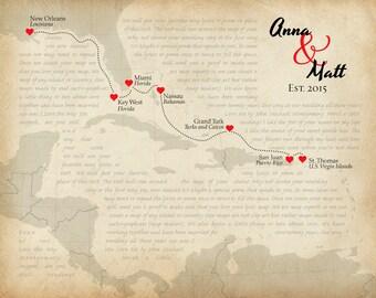 Custom Anniversary Gift, Wedding Present, Personalized Caribbean Map, Song Lyric Print, Destination Wedding Keepsake, Honeymoon Memento