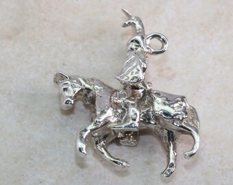 Knight on Horse Charm Traditional Silver Charm
