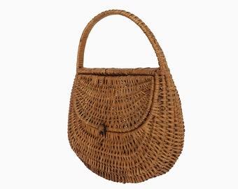 Vintage rattan - Antique rattan handbag purse