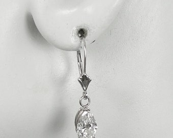 14K White Gold Dangle Lever Back Cubic Zirconia Pear Gemstone Drop Earrings European Wires with secure spring closure 14KWCZ9X6PEARLLB
