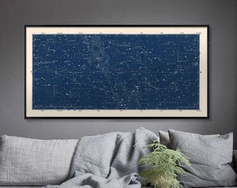 Blue Star Map, Star Map Print, Constellations Chart Print, Blue Constellation, Celestial Map, Constellations Art, Blue Large Horizontal Art