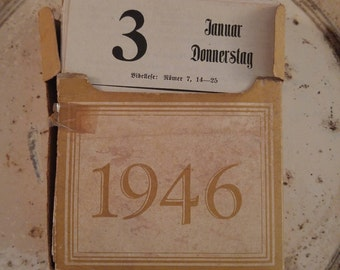 Vintage calender, 1946 German text boxed calender, antique daily calender, German emphemera, old paper collage bundle, altered art projects