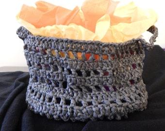 Crochet Plarn Basket Tote 5