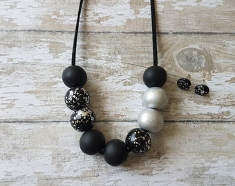 Black and silver necklace and earring set, Black silver necklace, Black necklace statement, Black statement necklace, Elegant necklace black