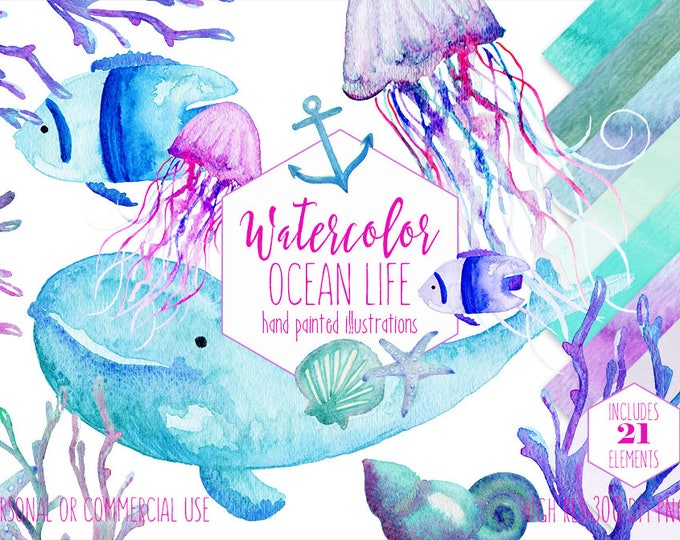 WATERCOLOR OCEAN LIFE Clipart Commercial Use Clip Art Watercolour Nautical Sea Animals Coral Whale Shells Jellyfish Anchor Digital Papers