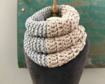 Double Down Cowl  in dove gray and linen by Fringe