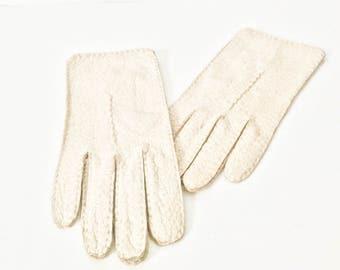 Grandoe pigskin gloves - Vintage off white gloves - Women's gloves - Peccary Pigskin gloves - Gloves 7.5