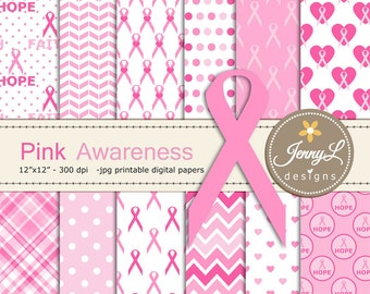 Breast Cancer Awareness Digital Papers, Pink Ribbon Digital Papers, heart, hope