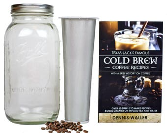 The COLD BREW INFUSER | 2 Quart | Cold Brew Ball Mason Jar Coffee Maker and Texas Jack's 130 Page Cold Brew Coffee Recipe & Instruction Book