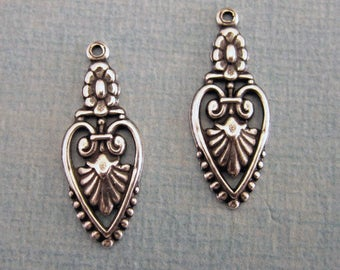 NEW 2 Silver Filigree Charms 3812