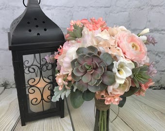 Wedding Bouquet, Bridal Bouquet, Succulent Bouquet, Artificial Bouquet, Silk Bouquet, Blush Bouquet, Bridesmaid Bouquet