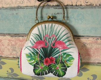 Vintage evening clutch purse with pink flamingos, kiss lock purse, metal frame purse, purse with handle