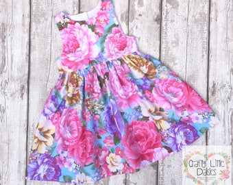Floral Girl Dress | Party Dress | Roses Tea Party | Flowergirl | Special Occasion Dress | Toddler Dress | Flower Dress | Prem to 8 Years |