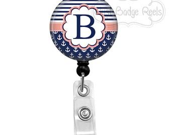 Badge Reel - Navy Nautical Badge Reel - Nurse Badge Holder - Retractable Badge Reel - Initial Badge Reel - 0040