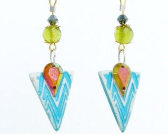Asymmetric/blue/gem/triangle/clay/dangly earrings.JE25-75