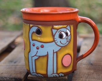 Mug pottery handmade, Cat lover gift, Mug pottery cat, Coffee mug pottery, Cat mug, Coffee cat mug, Handmade mug, Espresso cup, Pottery mug