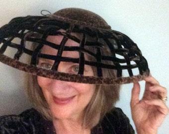 BIG HAT SALE Women's High Fashion Hat Brown Leopard Print Velvet Hat Lampshade Hat Komater Sisters Vintage Inspired Design Hat