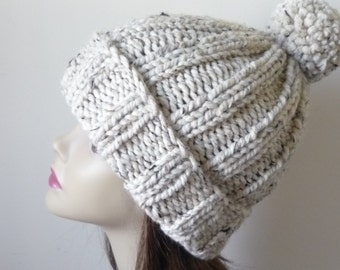 Chunky Knit Hat with Pompom and Rolled Brim Warm Wool Blend Winter Hat in Oatmeal - Ready to Ship - Direct Checkout
