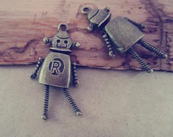 4pcs  Antique Bronze movable robot pendant charm 17mmx36mm