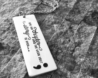 Semi colon / Awareness Necklace / Motivational Jewelry / Semicolon Necklace / Semicolon Jewelry / Gift for Her