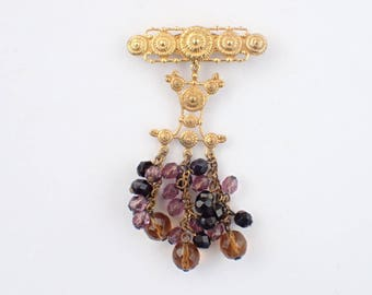 Signed DVF for Diane Von Furstenberg Brooch with dangling glass beads AB458