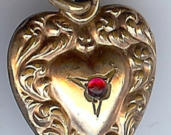 Antique ORNATE gold tone red glass cabachon 'T.M.' engraved initials puffy HEART charm