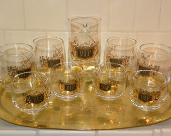 Vintage VIP Royalty Gold Black Cocktail Glasses and Pitcher Bar Set - Medieval  Roly Poly Glasses on Brass Hammered Tray  Lion Sword Scepter