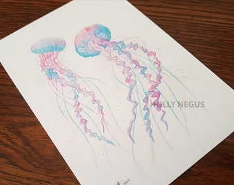 Jellyfish Postcard Print - From Original Art - Watercolour Effect - Portrait - 300gsm Matt Card