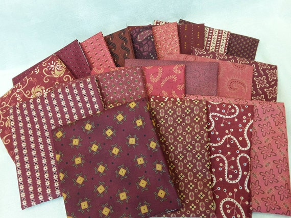 Kim Diehl Reds 19 Hand Cut Fat Quarters, Cabin Style Primitive Cotton Quilt Fabrics With Diamonds, Flowers, Leaves, Stars, Stripes