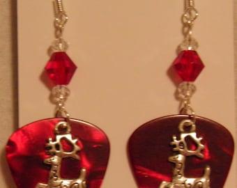 Silver Reindeer Christmas Charm on Guitar Pick Beaded Earrings - Handmade in USA